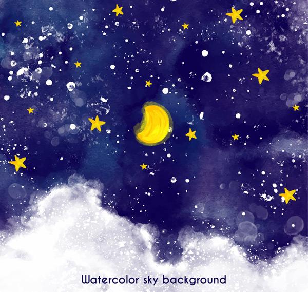 月亮,月牙,星星,天空,云朵,夜空,风景,水彩,夜晚,矢量图,ai格式 下载
