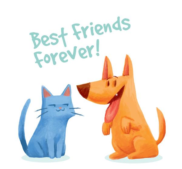 素材分类: 矢量卡通动物所需点数: 0 点 关键词: 可爱蓝猫和狗的友谊