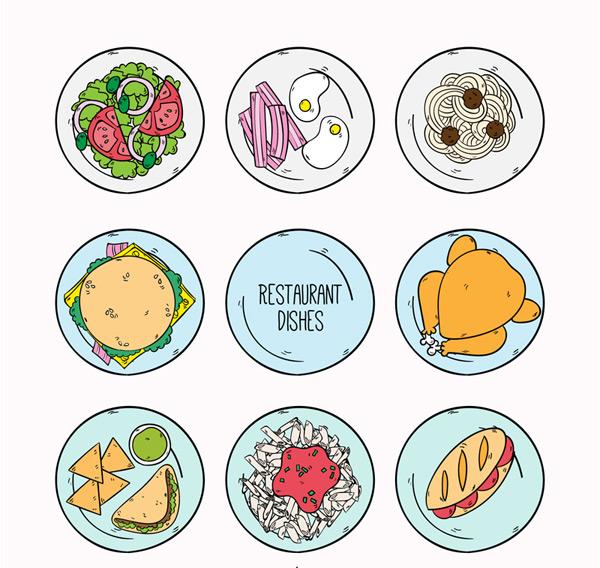 餐馆菜品俯视图