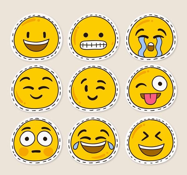0 点 关键词: 9款可爱黄色贴纸表情贴纸矢量图,笑脸,呲牙,哭泣,微笑