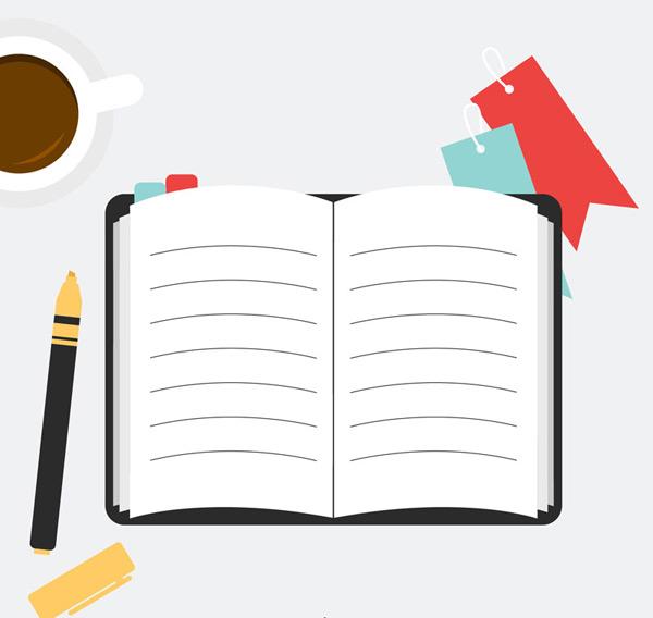 记事本和咖啡