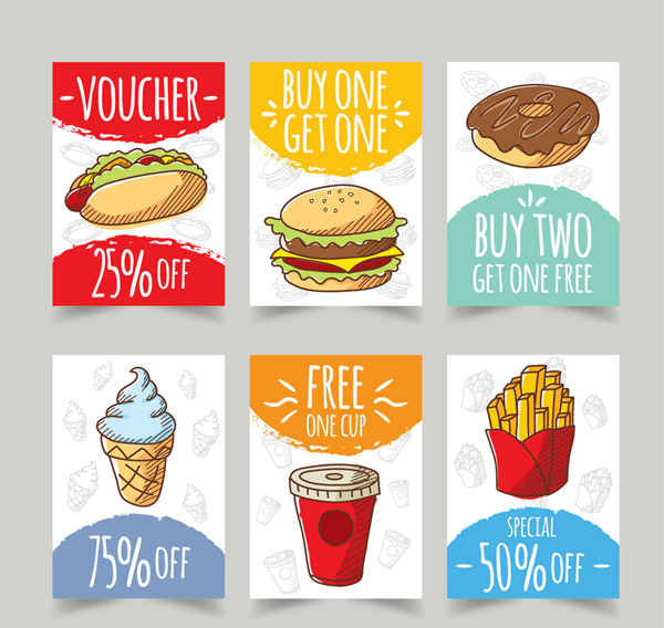 快餐食品促销卡片