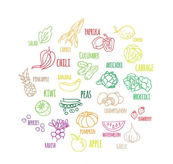 彩绘蔬菜和水果