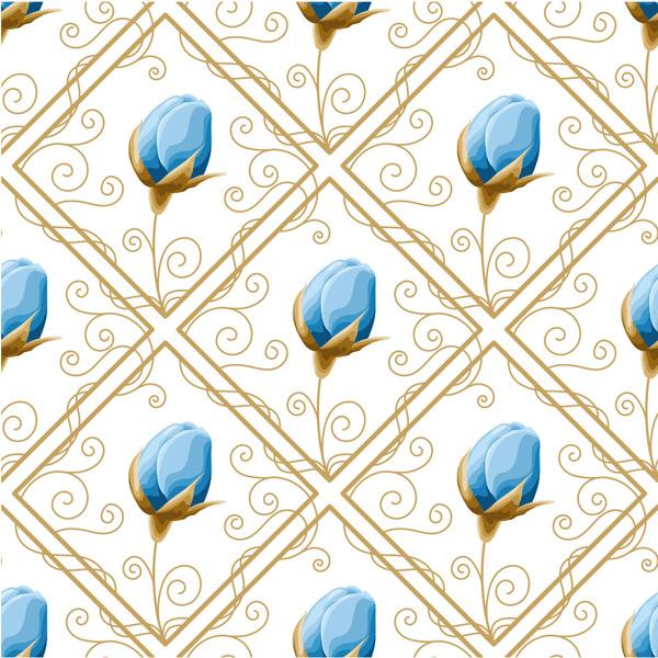 手绘植物,蓝色花朵,植物背景,花朵,鲜花,水彩画,花苞,玫瑰花,菱形方框