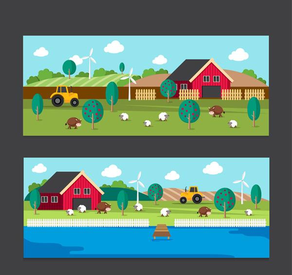 0 点 关键词: 2款彩色农场风景banner矢量素材,农庄,拖拉机,田地