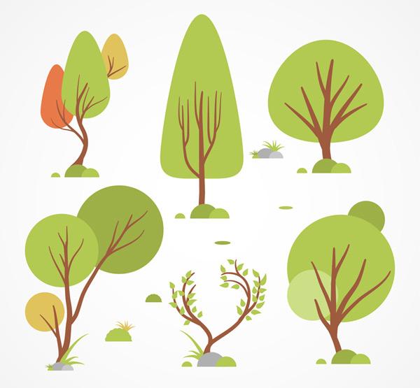 矢量花草树木所需点数: 0 点 关键词: 6款创意树木设计矢量素材,石头