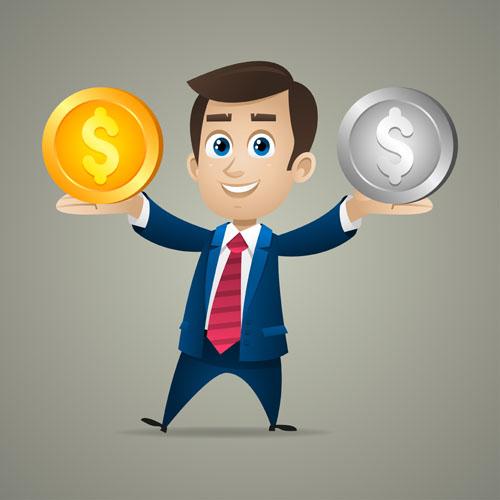 银币的商务人物矢量素材免费下载,金币,银币,商务人物,职场,人物,开心