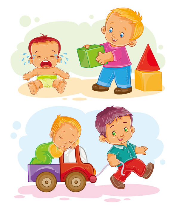 男孩,兄弟,陪伴,玩耍,婴儿,哭泣,积木,睡觉,卡车,玩具,孩子,插画,卡通