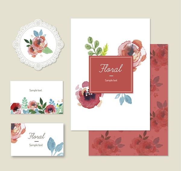 水彩玫瑰花卡片