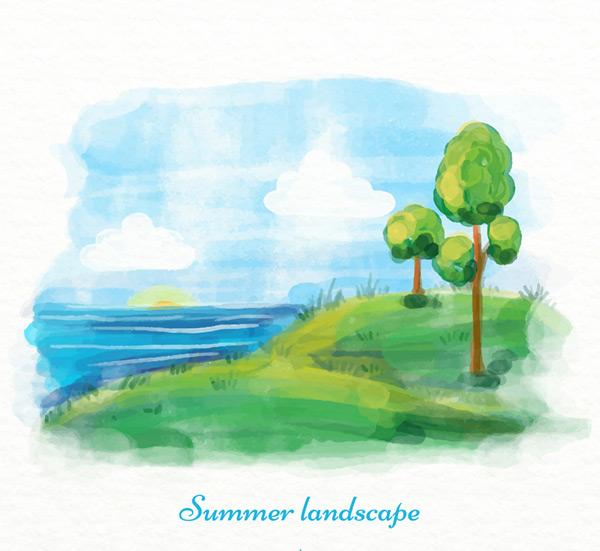 水彩绘夏季海边树木风景矢量图,云朵,草地,水彩,夏季,大海,树木,自然