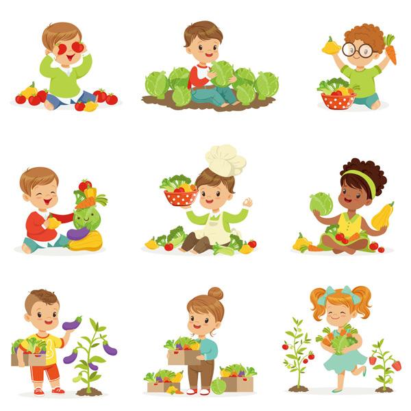儿童,孩子,人物,厨师,蔬菜,胡萝卜,番茄,西兰花,辣椒,包菜,蔬菜,食物