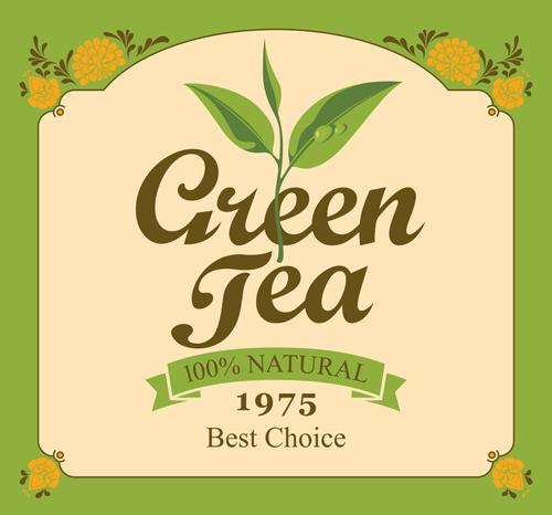 绿茶标贴矢量