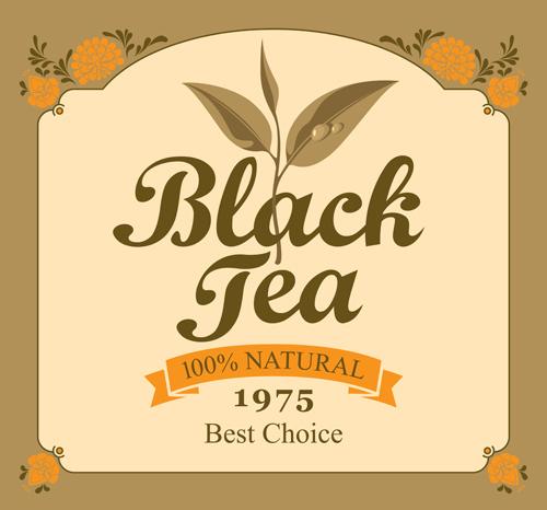黑茶标贴矢量