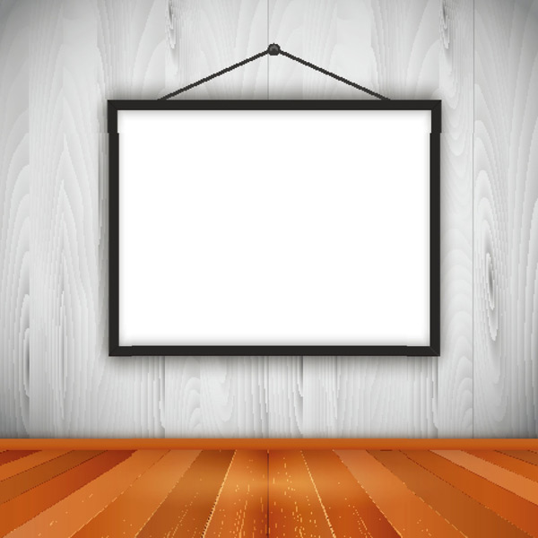 墙面上的黑色木质空白画框矢量素材,白色,现代,木墙壁,木地板,相框,镜