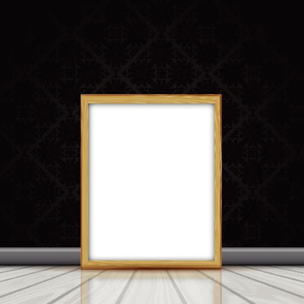 实木空白相框画框矢量素材,白色,现代,黑色,墙壁,木地板,相框,镜框
