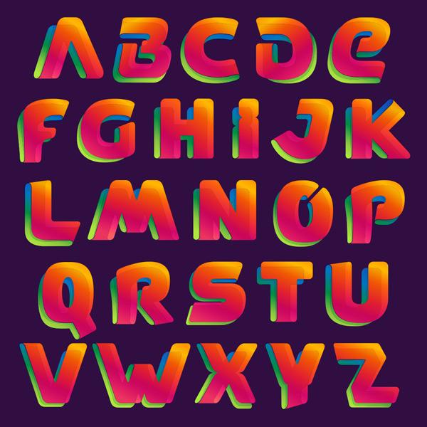 彩色,渐变,创意,织带,彩带,卡通,可爱,创意,时尚,字体,设计,素材,全套