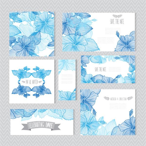 手绘花卉婚礼卡片