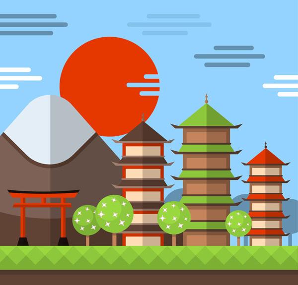 矢量建筑景观所需点数: 0 点 关键词: 扁平化日本古建筑风景矢量素材
