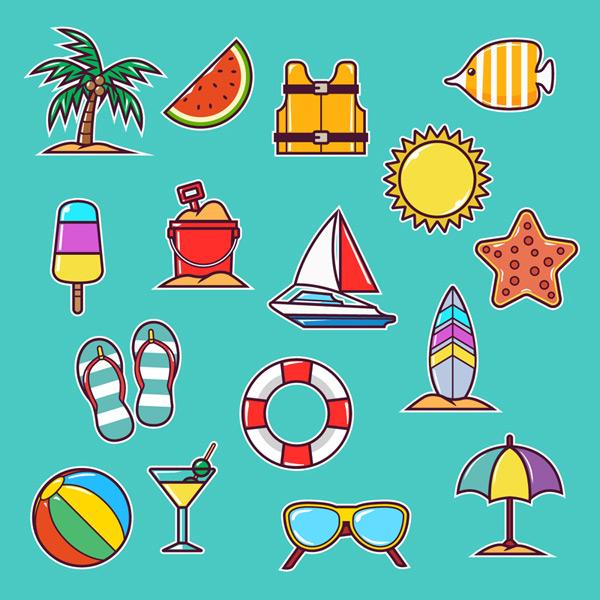 夏季沙滩度假元素图片