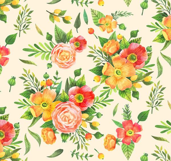 彩色花束无缝背景