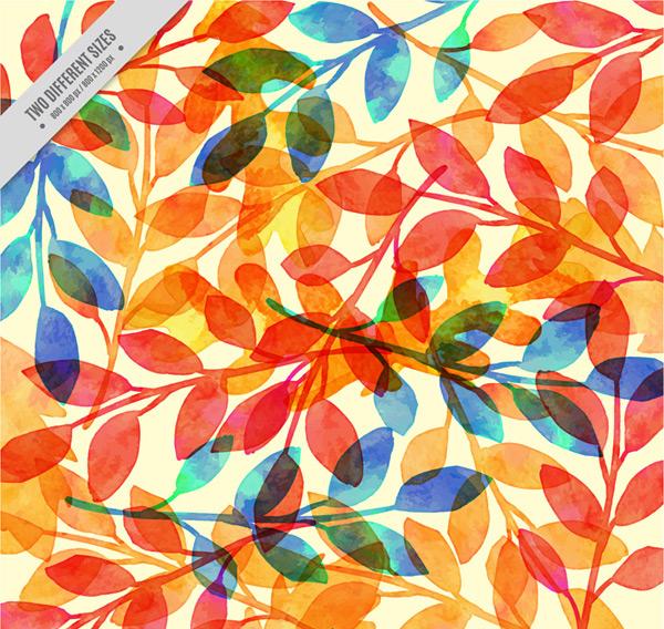 树叶枝条无缝背景
