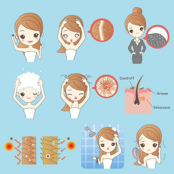 关键词: 卡通女孩头屑问题矢量素材,美女,卡通,头发,女人,头皮屑,可爱