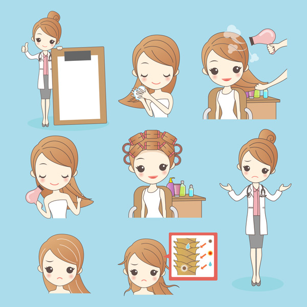 卡通女孩头发护理