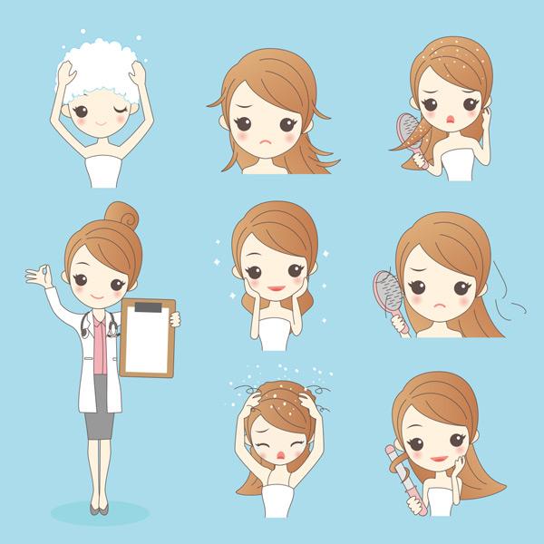 关键词: 卡通女孩护肤美发矢量素材,美女,卡通,头发,女人,烫发,可爱