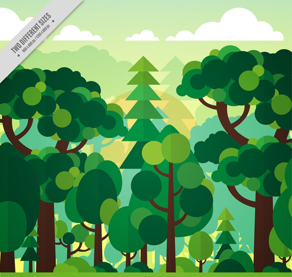 关键词: 扁平化绿色森林风景矢量图,树木,云朵,太阳,自然,扁平化,森林