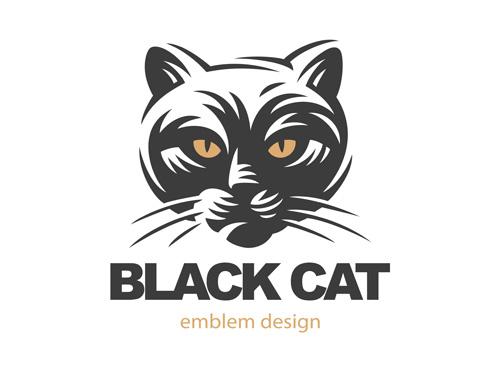矢量图,设计素材,创意设计,标志设计,logo设计,动物,黑猫,猫咪,eps