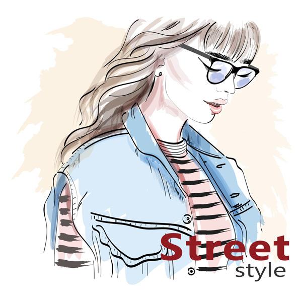 戴眼镜的长发美女手绘矢量素材,休闲,服装,设计,图纸,眼镜,时尚,女性,女孩,长发,发型,插图,牛仔,马甲,模型,肖像,漂亮,太阳镜,水彩,绘画,艺术,矢量素材,EPS