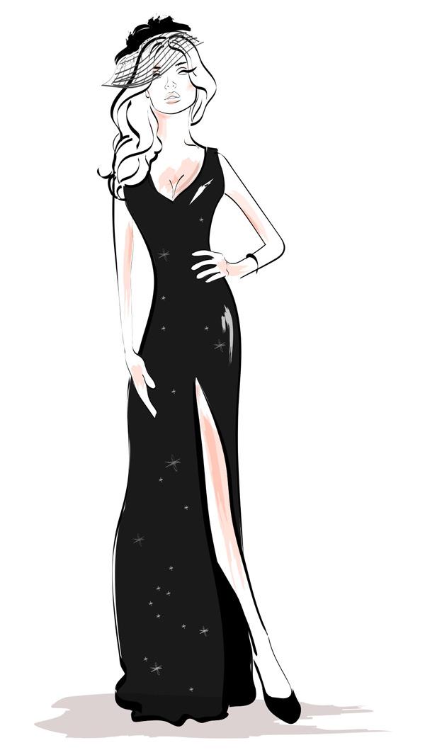 手绘黑色长裙美女