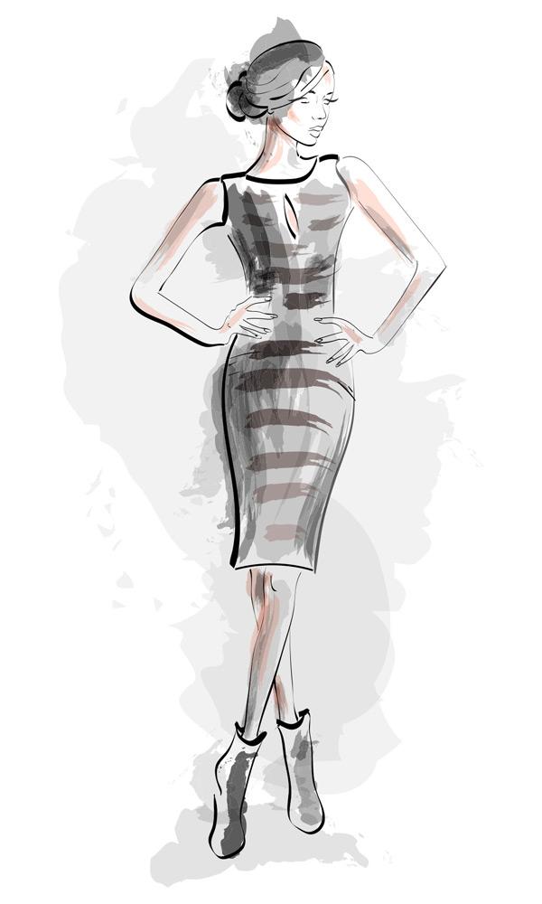 手绘素描短裙女性