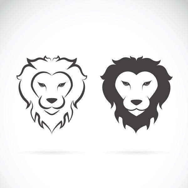 黑白线条狮子头像