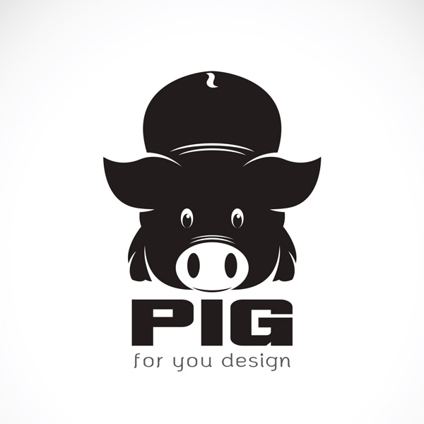 小猪头像矢量素材,小猪,帽子,黑色,剪影,动物,插图,设计,卡通,标志