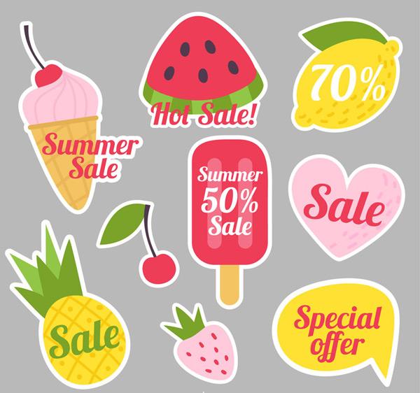 0 点 关键词: 8款创意夏季促销贴纸矢量素材,冰淇淋,甜筒,西瓜,柠檬
