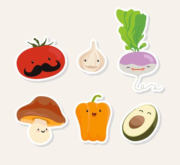 素材分类: 矢量卡通角色所需点数: 0 点 关键词: 6款可爱蔬菜和水果