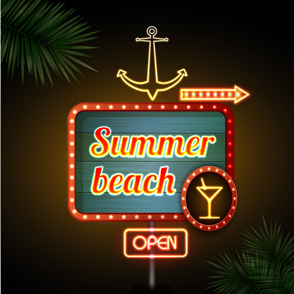 沙滩酒吧霓虹招牌