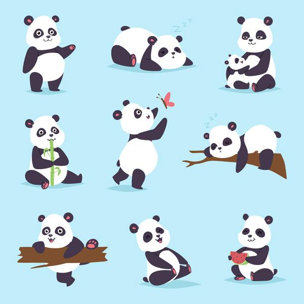 可爱卡通大熊猫