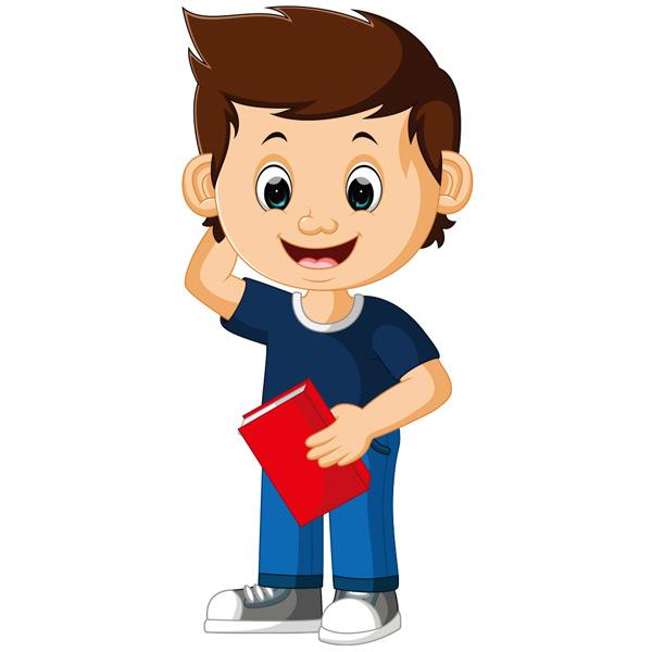 男孩,卡通,书本,读书,快乐,孩子,童年,可爱,学习,教育,小学,插图,学前