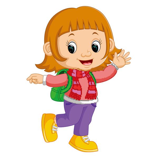 关键词: 背着书包开心跳跃的卡通女孩矢量素材,卡通,女孩,开心,可爱