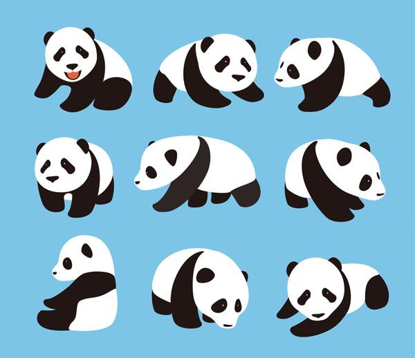 大熊猫,可爱,卡通,动物,玩耍,开心,休息,国宝,野生动物,珍稀动物,漫画