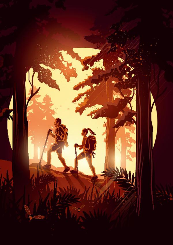 森林徒步的男女