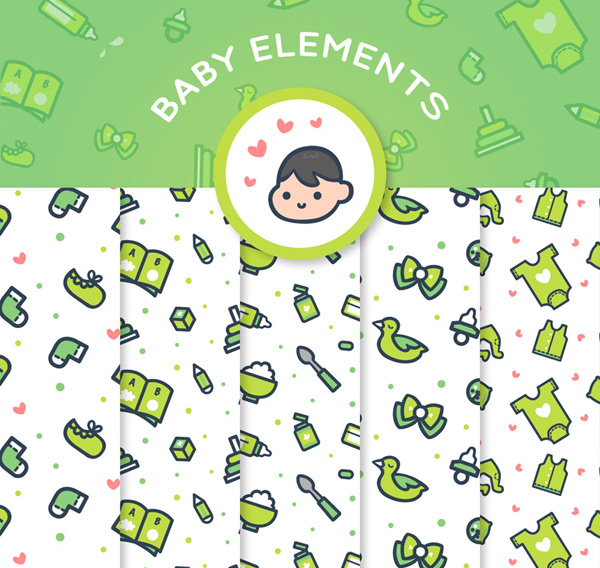 0 点 关键词: 3款可爱婴儿用品无缝背景矢量图,安抚奶嘴,奶瓶,袜子