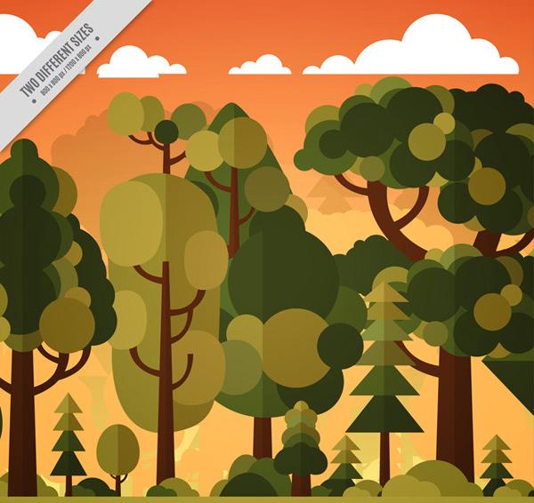 黄昏森林风景