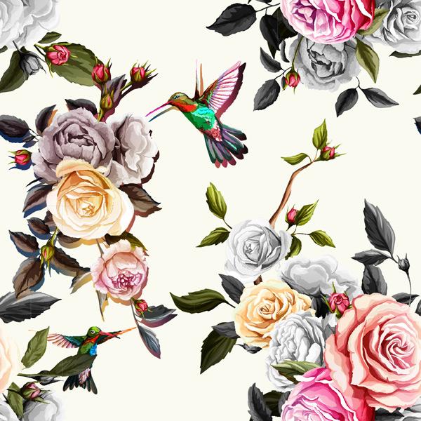手绘花朵小鸟背景