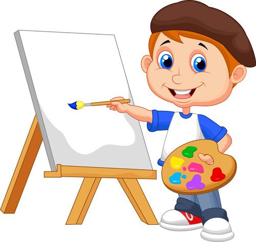 矢量素材,矢量图,设计素材,创意设计,人物画板,画家,画画,画架,儿童