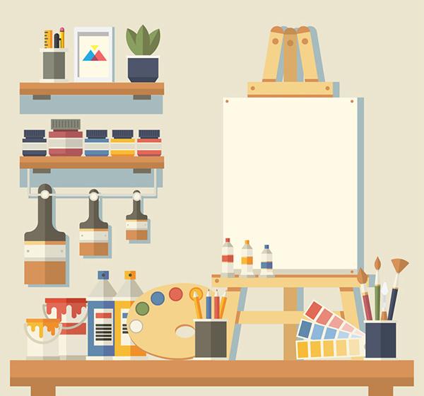 整洁画室墙壁