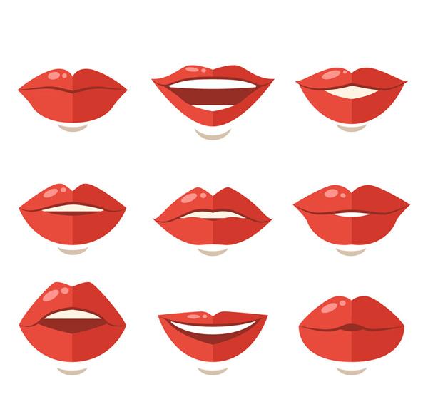扁平化红色嘴唇