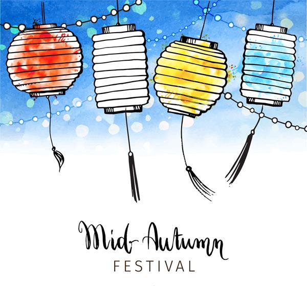 0 点 关键词: 4个彩绘中秋节灯笼贺卡矢量图,夜晚,彩绘,中秋节,灯笼
